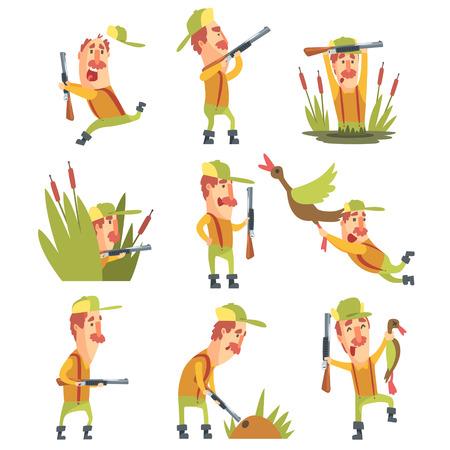 Hunter in diverse situazioni divertenti serie di illustrazioni. Comic carattere In Funky disegno stilizzato e la sua caccia hobby. Piatto Vector Cartoon illustrazione su sfondo bianco,