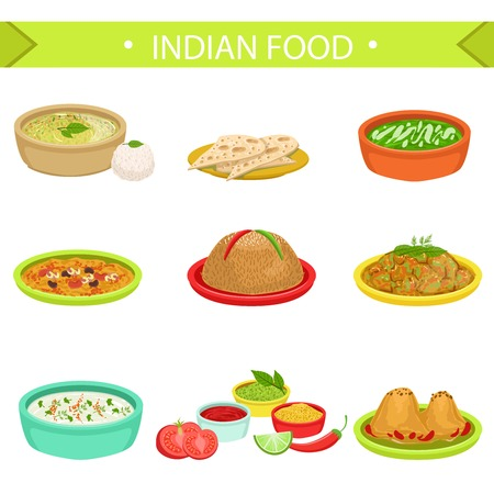 chutney: Indian Food Signature Dishes Illustration Set. Traditional Cuisine Restaurant Menu Plates In Simplified Vector Drawings,