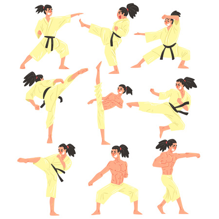 muscly: Professional Martial Arts Sportsman Funny Character Set. Cartoon Fun Style Vector Illustrations Isolated On White Background.
