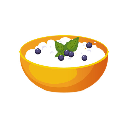cottage cheese: Bowl Of Cottage Cheese With Blueberry, Milk Based Product Isolated Icon. Simple Realistic Flat Vector Colorful Drawing On White Background.
