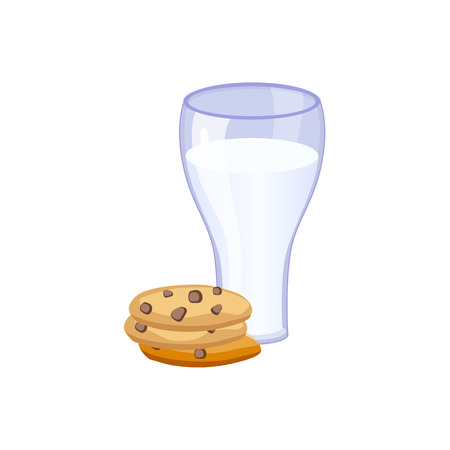 based: Glass Of Milk And Cookies, Milk Based Product Isolated Icon. Simple Realistic Flat Vector Colorful Drawing On White Background. Illustration