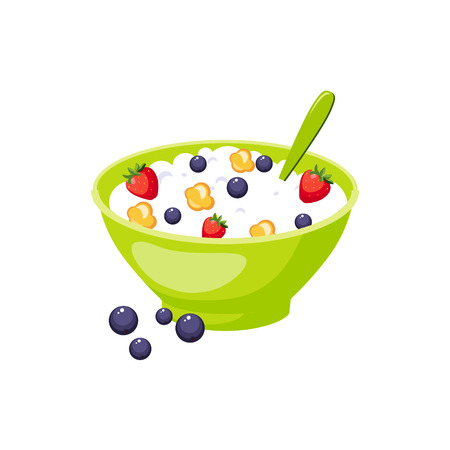based: Muesli With Berry And Milk, Milk Based Product Isolated Icon. Simple Realistic Flat Vector Colorful Drawing On White Background.
