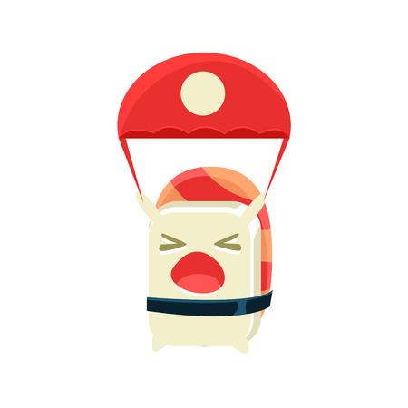 kamikaze: Kamikaze Funny Maki Sushi Character. Silly Childish Drawing Isolated On White Background. Funny Creature Colorful Vector Sticker. Illustration