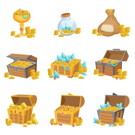 Treasure And Riches Set Of Graphic Design Elements. Cute Cartoon Style Illustrations With Gold, Jewels And Gems Isolated On White Background. Illustration