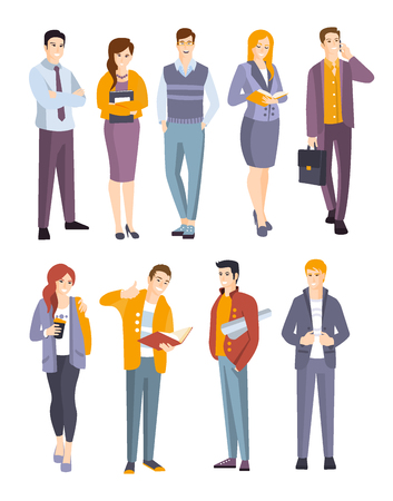 dress code: Young Professional Confident People Set. Man And Women Wearing Modern Dress Code Office Clothing Flat Illustrations In White Background. Illustration
