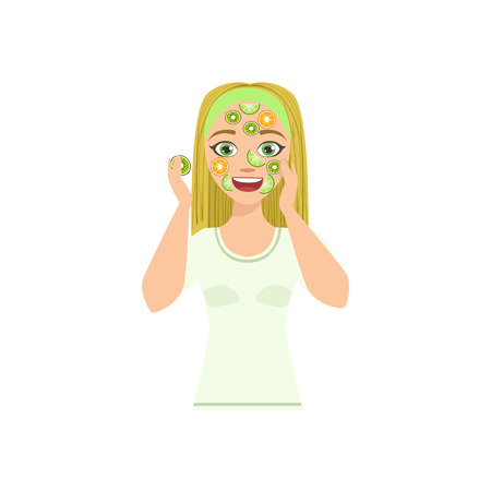 preening: Woman Doing Mask With Citrus Slices Home Spa Treatment Procedure. Isolated Portrait In Simple Cute Vector Design Style On White Background