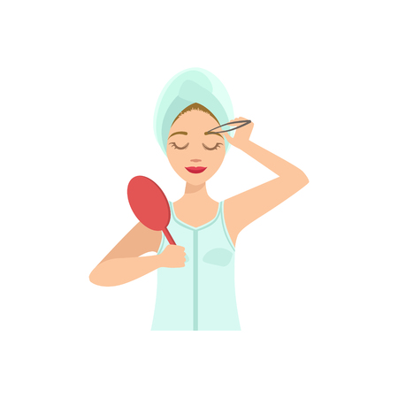 tweezers: Woman Shaping Eyebrows With Tweezers Home Spa Treatment Procedure. Isolated Portrait In Simple Cute Vector Design Style On White Background
