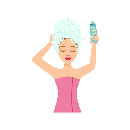 Woman Washing The Hair Home Spa Treatment Procedure. Isolated Portrait In Simple Cute Vector Design Style On White Background Illustration