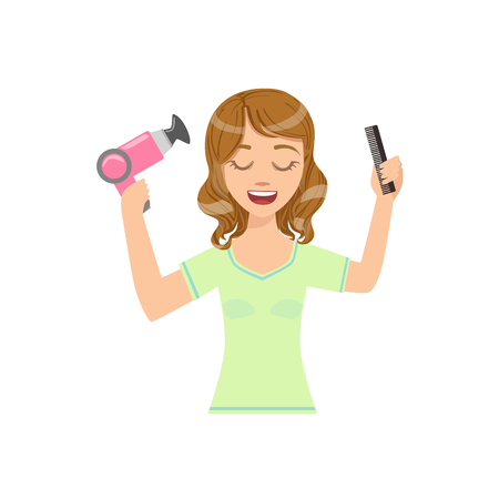 preening: Woman Drying Hair With Hairdryer Home Spa Treatment Procedure. Isolated Portrait In Simple Cute Vector Design Style On White Background