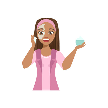 Woman Applying Mosturizing Cream Home Spa Treatment Procedure. Isolated Portrait In Simple Cute Vector Design Style On White Background Illustration