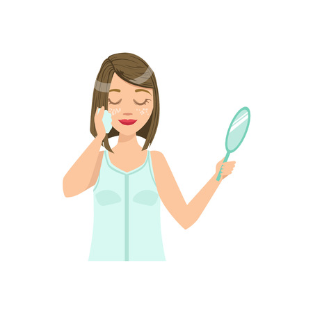 preening: Woman Doing Facial Cleansing Home Spa Treatment Procedure. Isolated Portrait In Simple Cute Vector Design Style On White Background Illustration