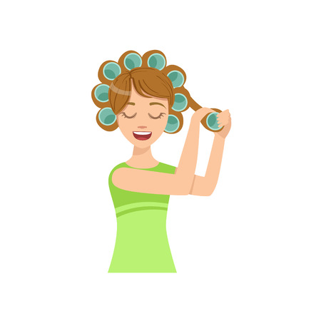 preening: Woman Curling The Hair Home Spa Treatment Procedure. Isolated Portrait In Simple Cute Vector Design Style On White Background