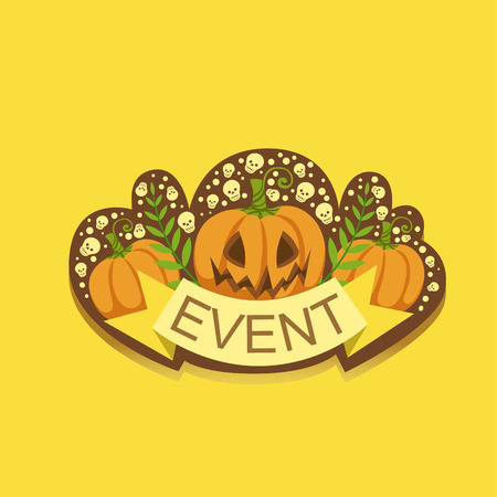 Halloween Event Template Label Cute Sticker. Childish Design Colorful Vector Sticker On Bright Background.