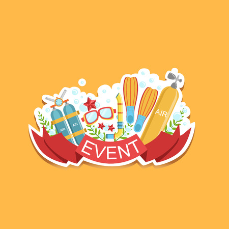 Diving Event Template Label Cute Sticker. Childish Design Colorful Vector Sticker On Bright Background. Illustration