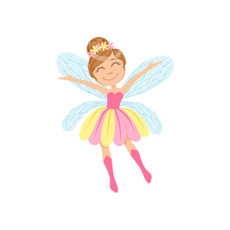 hairdo: Cute Fairy In Pink And Yellow Dress Girly Cartoon Character.Childish Design Fairy-tale Creature Simple Adorable Illustration.