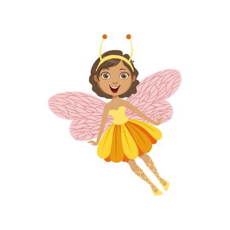 Cute Fairy With Insect Features Girly Cartoon Character.Childish Design Fairy-tale Creature Simple Adorable Illustration.