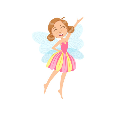 Cute Fairy In Pink Dress Girly Cartoon Character.Childish Design Fairy-tale Creature Simple Adorable Illustration.