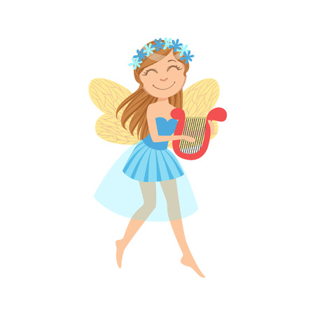 Cute Fairy With Lira Girly Cartoon Character.Childish Design Fairy-tale Creature Simple Adorable Illustration. Illustration