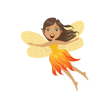 legendary: Cute Fire Fairy Girly Cartoon Character.Childish Design Fairy-tale Creature Simple Adorable Illustration.