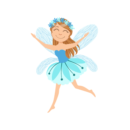 legendary: Cute Fairy With Chaplet Girly Cartoon Character.Childish Design Fairy-tale Creature Simple Adorable Illustration.