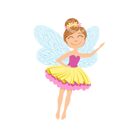 Cute Fairy In Layered Tutu Girly Cartoon Character.Childish Design Fairy-tale Creature Simple Adorable Illustration.