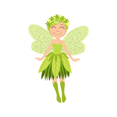 Cute Forest Fairy Girly Cartoon Character.Childish Design Fairy-tale Creature Simple Adorable Illustration.