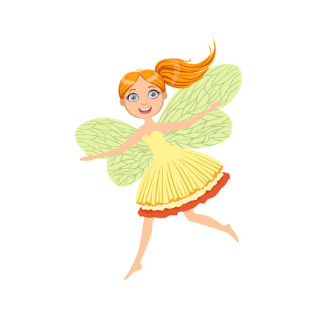 Cute Redhead Fairy Girly Cartoon Character.Childish Design Fairy-tale Creature Simple Adorable Illustration. Illustration