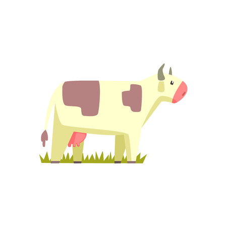 udders: Cow Toy Farm Animal Cute Sticker.Bright Color Funky Flat Drawing In Geometric Style.