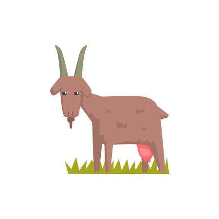 Grey Goat Toy Farm Animal Cute Sticker.Bright Color Funky Flat Drawing In Geometric Style. Illustration