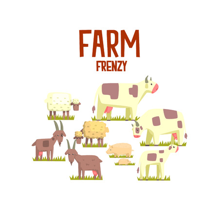 frenzy: Toy Farm Animals Cute Sticker.Bright Color Funky Flat Drawing In Geometric Style. Illustration