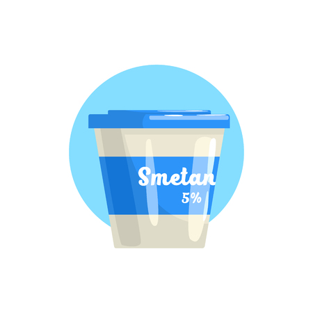 sour cream: Sour Cream Farm Product Colorful Sticker With Blue Circle On The Background In Detailed Simple Vector Design