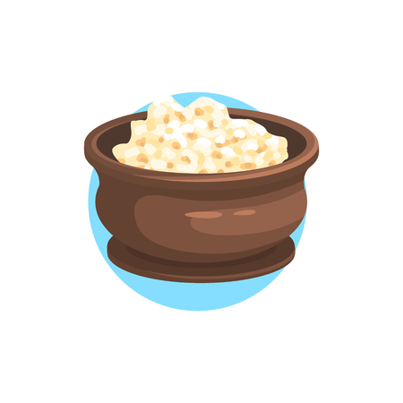 cottage cheese: Cottage Cheese Farm Product Colorful Sticker With Blue Circle On The Background In Detailed Simple Vector Design