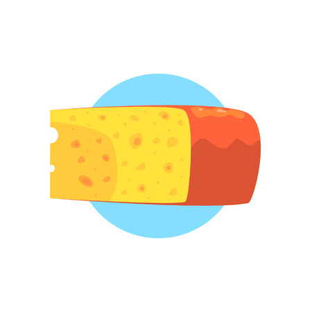 Cheese Farm Product Colorful Sticker With Blue Circle On The Background In Detailed Simple Vector Design Illustration
