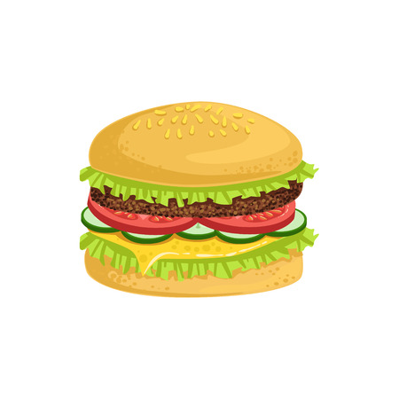 take away: Burger Street Food Menu Item Realistic Detailed Illustration. Take Away Lunch Icon Isolated On White Background.