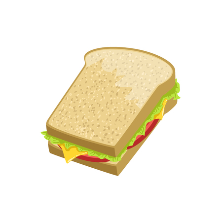 take away: Sandwich Street Food Menu Item Realistic Detailed Illustration. Take Away Lunch Icon Isolated On White Background. Illustration