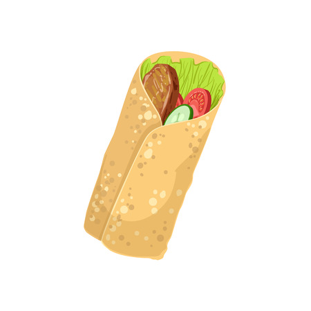 take away: Wrap Street Food Menu Item Realistic Detailed Illustration. Take Away Lunch Icon Isolated On White Background. Illustration