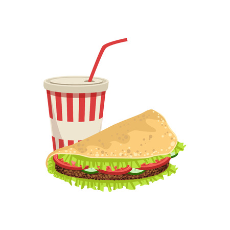 take away: Taco And Soft Drink Street Food Menu Item Realistic Detailed Illustration. Take Away Lunch Icon Isolated On White Background.