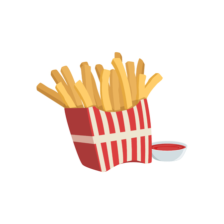 take away: French Fries And Ketchup Street Food Menu Item Realistic Detailed Illustration. Take Away Lunch Icon Isolated On White Background. Illustration