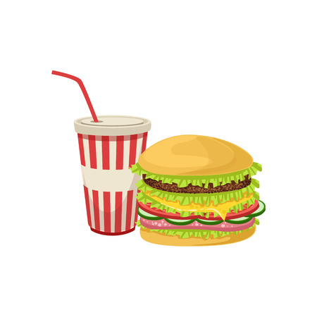 Burger Combo Street Food Menu Item Realistic Detailed Illustration. Take Away Lunch Icon Isolated On White Background. Illustration