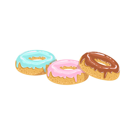 take away: Doughnuts Street Food Menu Item Realistic Detailed Illustration. Take Away Lunch Icon Isolated On White Background.