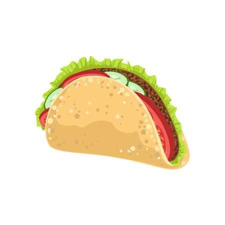 Taco Street Food Menu Item Realistic Detailed Illustration. Take Away Lunch Icon Isolated On White Background.