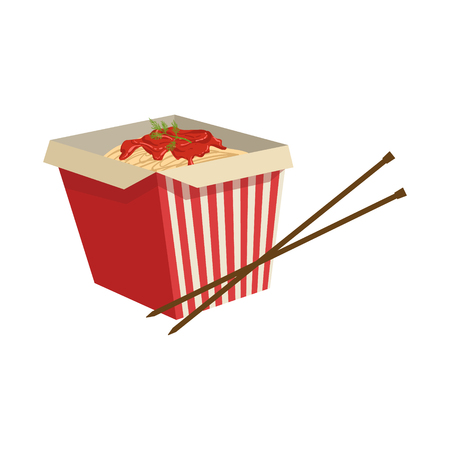 take away: Noodles Street Food Menu Item Realistic Detailed Illustration. Take Away Lunch Icon Isolated On White Background.