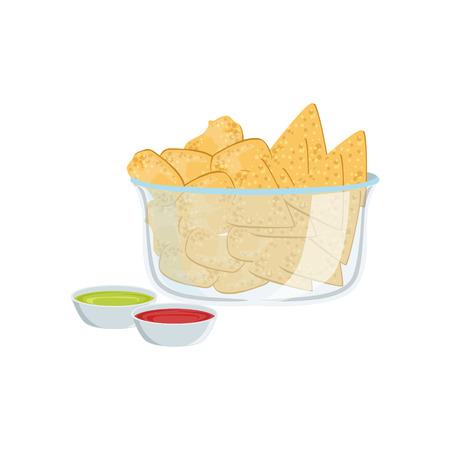 take away: Nachos Street Food Menu Item Realistic Detailed Illustration. Take Away Lunch Icon Isolated On White Background.