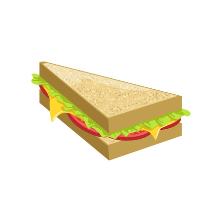 take away: Triangle Sandwich Street Food Menu Item Realistic Detailed Illustration. Take Away Lunch Icon Isolated On White Background. Illustration