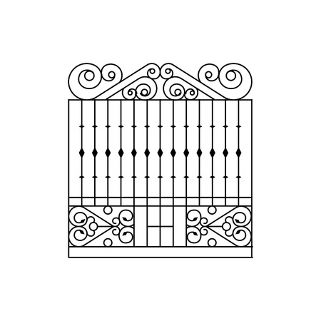 fence park: Metal Grid Fencing Design. Forged Iron Lattice Park Fence Black And White Vector Template
