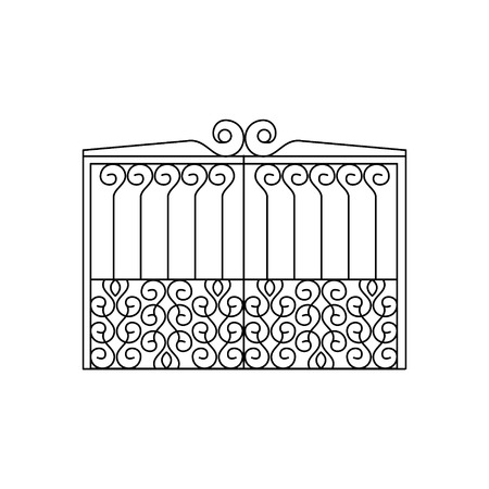 fence park: Metal Lattice Fencing Design. Forged Iron Lattice Park Fence Black And White Vector Template Illustration