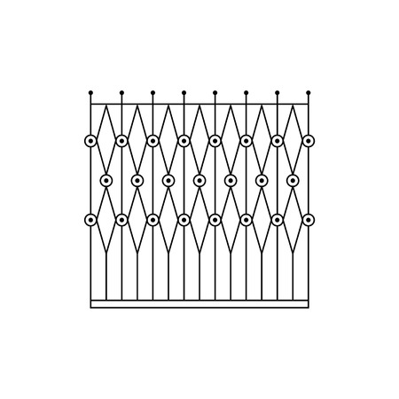 fence park: Geometric Grid Fencing Design Forged Iron Lattice Park Fence Black And White Vector Template Illustration