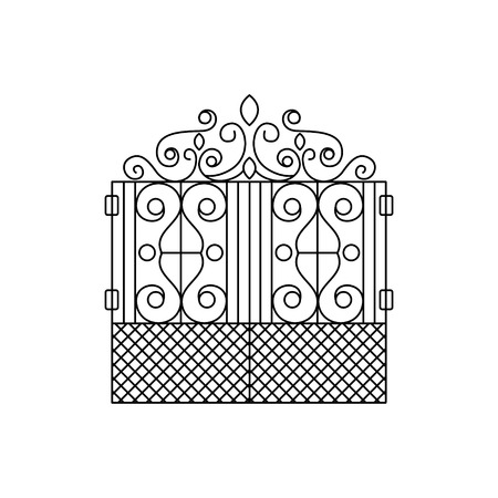 fence park: Classic Vintage Lattice Fencing Design Forged Iron Lattice Park Fence Black And White Vector Template