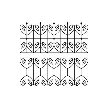 fence park: Classic Curled Lattice Fencing Design Forged Iron Lattice Park Fence Black And White Vector Template