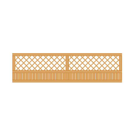 obstruction: See-Through Wooden Fence Design Element Template. Edging Creative Landscape Idea Icon On White Background.